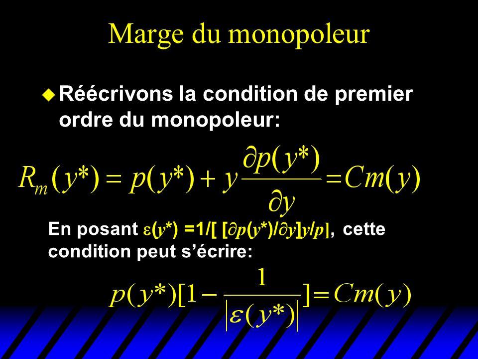 Marge du monopoleur Réécrivons la condition de premier ordre du monopoleur: En posant (y*) =1/[ [p(y*)/y]y/p], cette condition peut s'écrire: